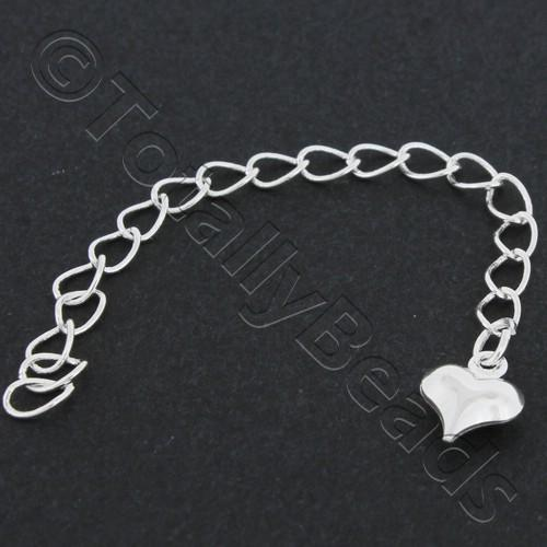 Extension Chain - Heart 80mm - Silver