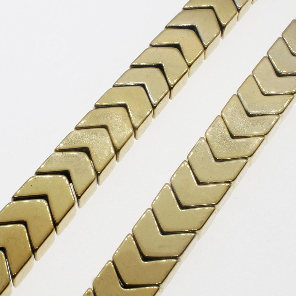Hematite Chevron 4mm - Gold Plated
