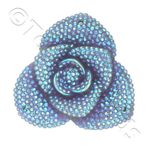 Resin Sparkle 3 Point Flower 40mm - Dark Lilac