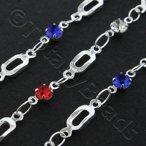 Silver Plated Chain - Oval Link and Rhinestone