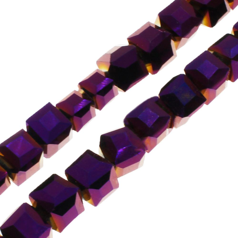 Crystal Faceted Cube 6mm  Purple Iris