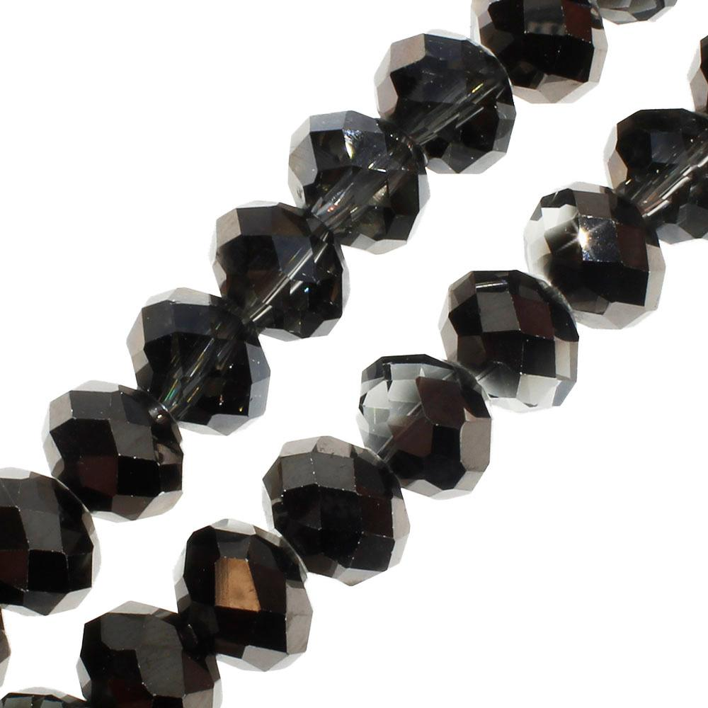 Crystal Rondelle 8x10mm - Black Diamond Shadow