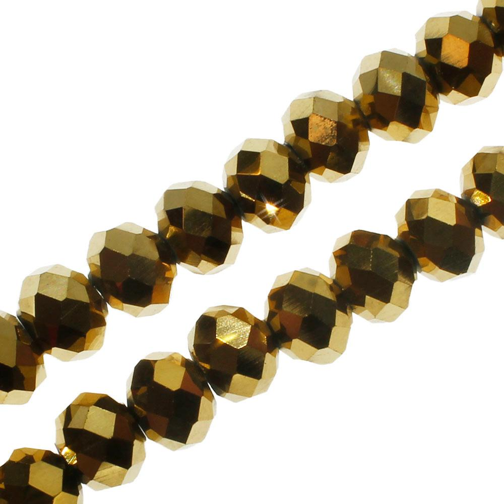 Crystal Rondelle 6x8mm - Gold Plate