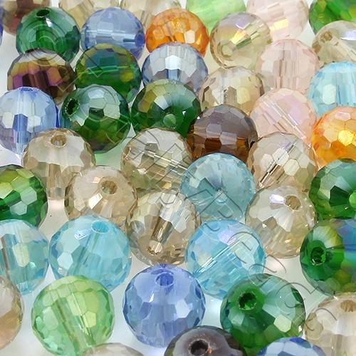 96 Facet Crystal 8mm Round Beads - Mixed 40pcs