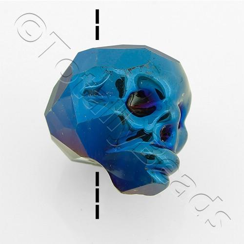 Crystal Skull Bead 13mm 1 Piece - Blue Iris