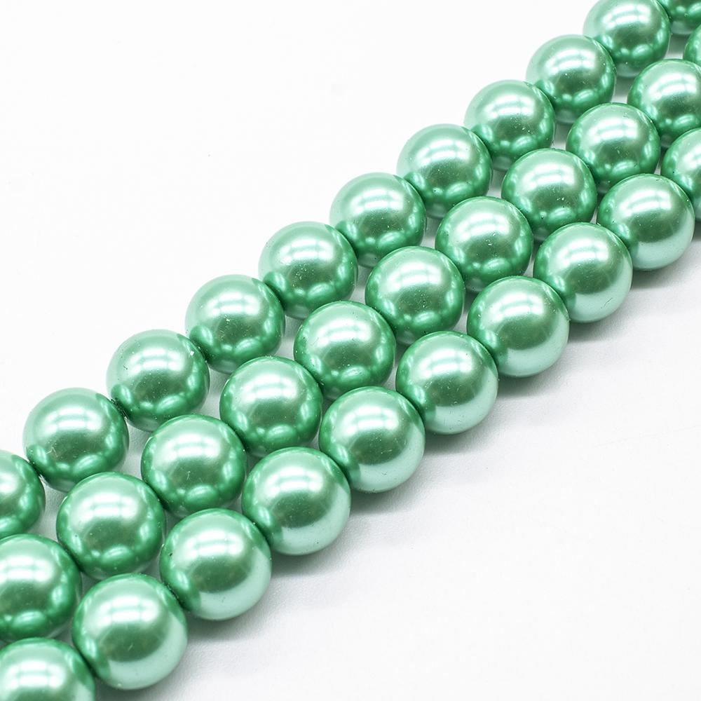 Glass Pearl Round Beads 12mm - Sea Foam Green
