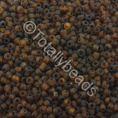 Seed Beads Transparent Frosted  Brown - Size 11