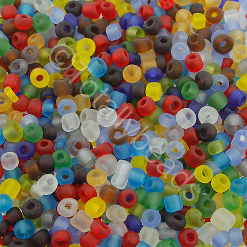 Seed Beads Transparent Frosted  Mixed - Size 8
