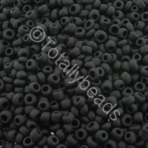 Seed Beads Opaque Frosted  Black - Size 8