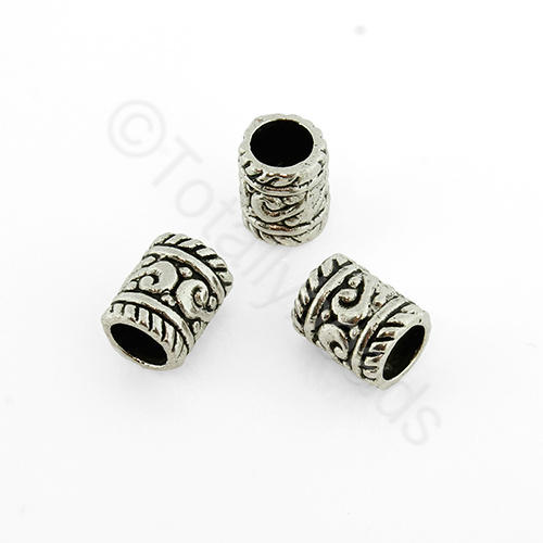 Antique Silver Metal Bead - Tube 9x7mm 18pcs - A0834
