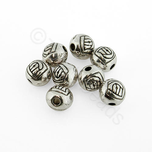 Antique Silver Round - 6mm - Rose Design