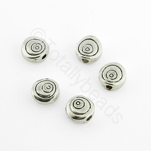 Tibetan Silver Bead - Disc 6mm