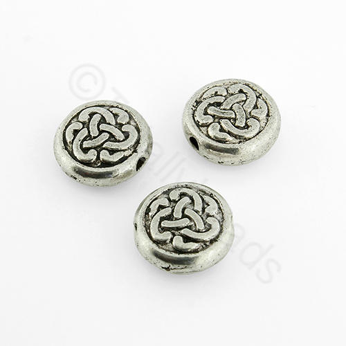 Tibetan Silver Bead - Celtic Disc 10mm
