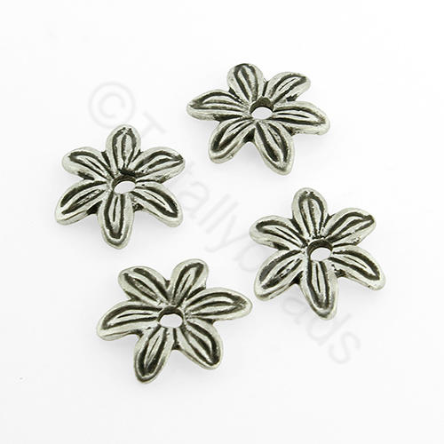Tibetan Silver Bead - Flat Flower 12mm