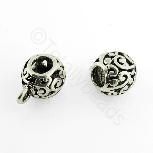 Tibetan Silver Bead - Bail Drum 11x9mm