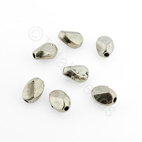 Tibetan Silver Bead - Facet Nugget 7x5mm