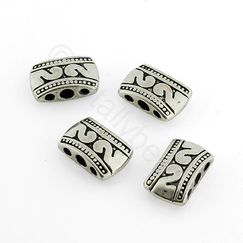 Antique Silver Metal Bead - 3 Hole Bead 7mm 15pcs - A8086