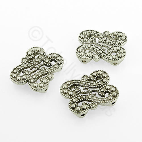 Antique Silver Spacer Bar - Filigree S's 18mm - 8pcs