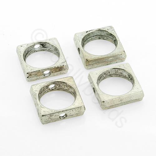 Antique Silver Metal Beadframe - Square 11mm 12pcs - H855