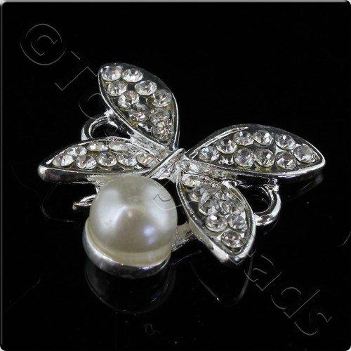 Silver Metal Butterfly Crystal Pearl Connector