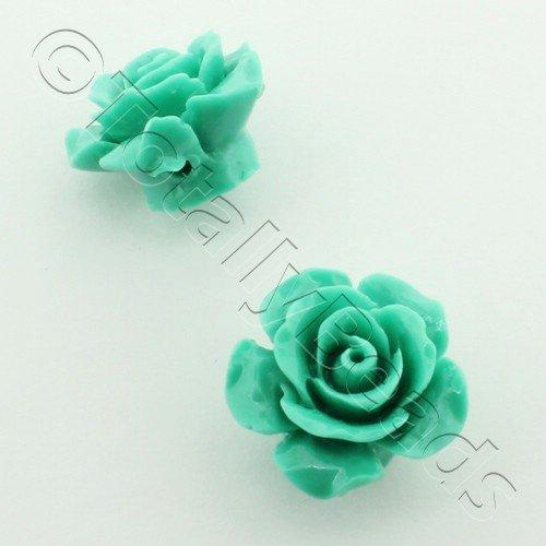 Acrylic Rose 15mm 1 Row - Dark Green 4pcs