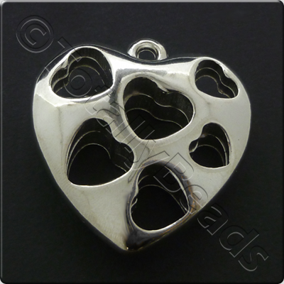 Metalised Antique Silver Heart 46x45x14mm - Hearthole