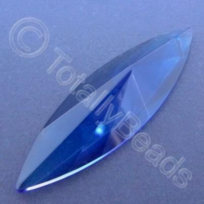 Glass Pendant Faceted Rice Blue - 68mm