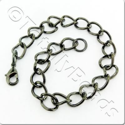 Chain Bracelet - Black Plate - Oval Twist with Lobster Clasp