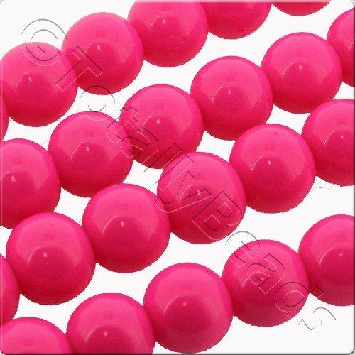 Glass Bead Round 8mm - Neon Pink