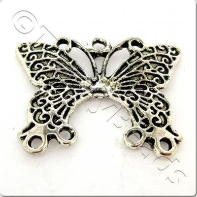 Tibetan Silver Connector - Butterfly 3-4
