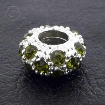 Diamante Large Hole Rondelle Spacer - 11x6mm - Green