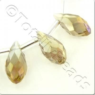 Crystal Drop Top Drilled 6x12mm - Champagne AB