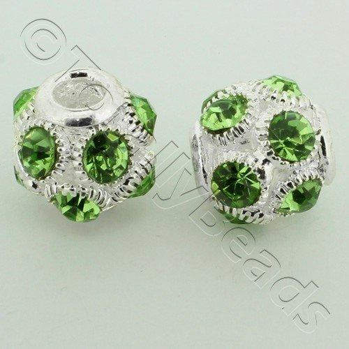 Large Hole Round Rhinestone Spacer Bead 14mm - Peridot