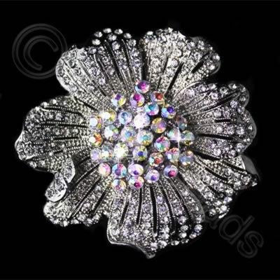 Diamante Pendant - 7 Petal Flower - Crystal AB