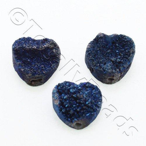Druzy Bead Heart 12mm - Blue Plate
