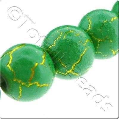 Dried Mud Glass Beads Round - Green