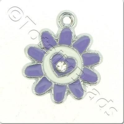Enamel Charm - Sunflower - Purple