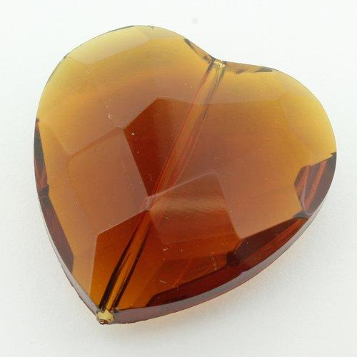 Glass Bead Facet Heart 35mm - Dark Amber