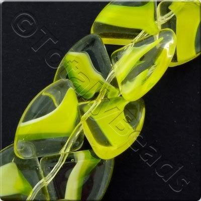 Glass Quadrant - 15mm - Yellow - 28pcs