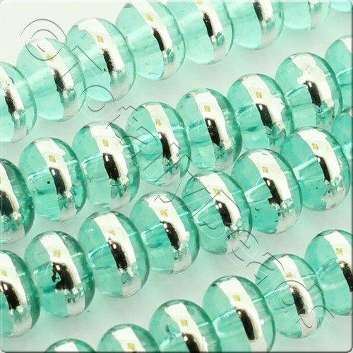 Half Silver 6x4mm Rondelle Glass Bead - Green