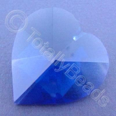 Glass Pendant Heart Blue - 40mm