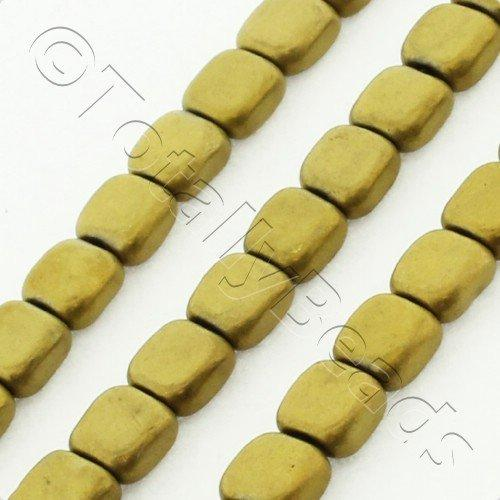 Hematite Flat Square 4mm - Matt Gold Plated