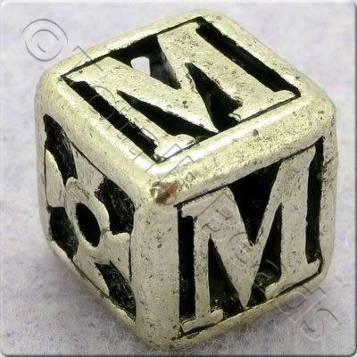 Tibetan Silver Letter Cube Bead - M