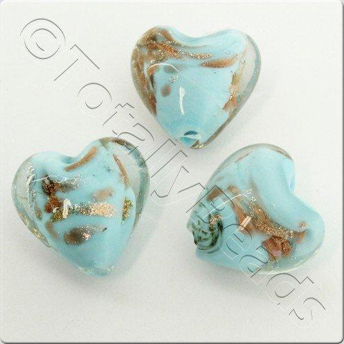 Lampwork Glass Bead Heart 14mm - Pale Blue Copper