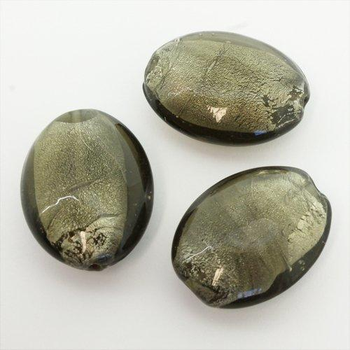 Lampwork Glass Bead Oval 31mm - Grey