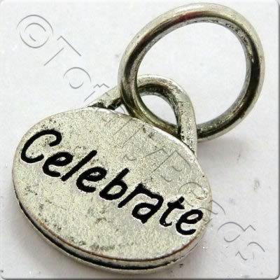 Tibetan Silver Message Tag/Charm - Celebrate