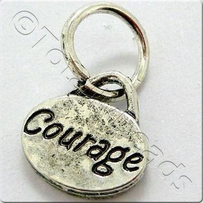 Tibetan Silver Message Tag/Charm - Courage