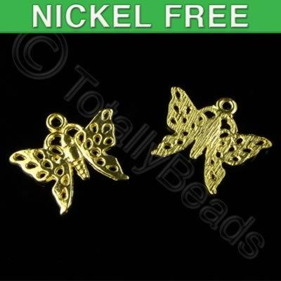 Gold Plated Charm - Butterfly 19mm
