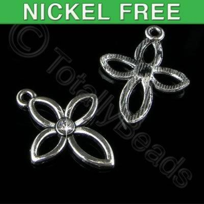 Antique Silver Charm - Crystal Flower Hollow 19mm