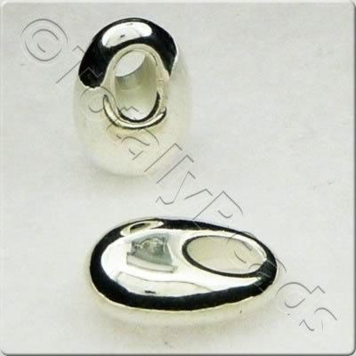Acrylic Silver Bead - 13mm Oval